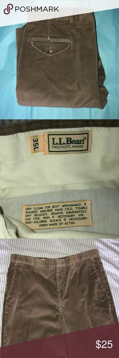 L.L. Bean Men's Khaki Corduroy Dress Pants 35L Great condition. Men's size 35L (Long I believe is a 33 inch inseam and 35 is the waist size). Authentic LL Bean product with minor wear, no holes, no frays.   All bundles of 2 or more discounted automatically by 20% ☺️ Bundle your likes for a personal offer! All offers welcome 💕 L.L. Bean Pants Corduroy