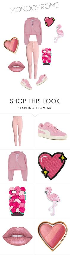 """Stephanie - Monochrome pink contest"" by kentigerna ❤ liked on Polyvore featuring Puma, Stoney Clover Lane, Kate Spade, R.J. Graziano and Lime Crime"