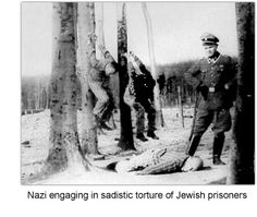 Nazi engaging in sadistic torture of Jewish prisoners.