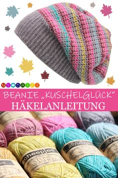 Crochet Pattern Beanie Kuschelglück – all sizes - Knitting for Beginners Bonnet Crochet, Crochet Motifs, Tunisian Crochet, Knit Crochet, Crochet Hats, Chain Stitch, Slip Stitch, Double Crochet, Single Crochet