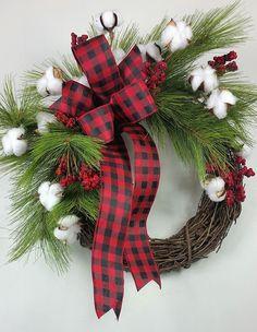 Farmhouse Christmas wreath Fixer Upper Christmas wreath