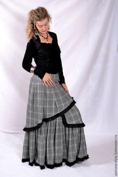 Купить Юбка серая двухслойная с черной оборочкой. - юбка, юбка в пол, юбка длинная