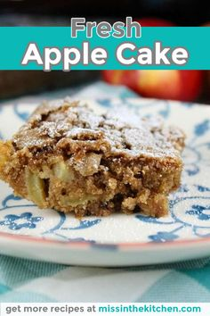 12 Servings 1 Hour Fresh Apple Cake is one of the easiest fall desserts that you can bake. It's made in one bowl and you don't even need a mixer. It's a family favorite right from my mom's recipe box! Easy To Make Desserts, Fall Desserts, Delicious Desserts, Yummy Food, Apple Cake Recipes, Dessert Cake Recipes, Bar Recipes, Recipies, Fresh Apple Cake
