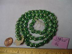 "Christmas Garland Mercury Glass Green 22"" Long 5/16"" Beads #136 Vintage"