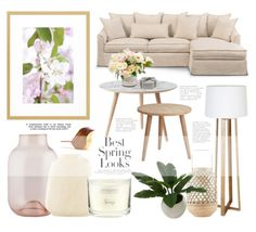 An inspirational home set of a neutral living room that combines a beige comfy sofa with natural wood furniture and subtle decorative items.   #livingroom #homedecor #decoration #whitesofa #homestyle #minimal #springdecor #neutraldecor #getthestyle #decoratingideas