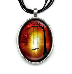 In a Happy Place - Painting Pendant by Carly Landry http://amzn.to/2kIIkIi #tree #swing #pendant #necklace #fashion #jewelry #painting #art #gothic #sad #child #loss #gift