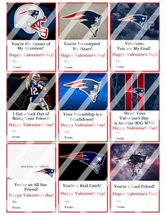 New England Patriots Valentines Day Cards Sheet #8 (instant download or printed)