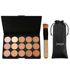 JewelryWe 15 Professional Warm Color Foundation Contour Concealer Camouflage Makeup Palette Face Contouring Kit with Cosmetic Brush >>> Check this awesome product by going to the link at the image. (This is an affiliate link) Foundation Contouring, Face Contouring, Contour Makeup, Flawless Makeup, Makeup Foundation, Too Faced Concealer, Cream Concealer, Makeup Palette