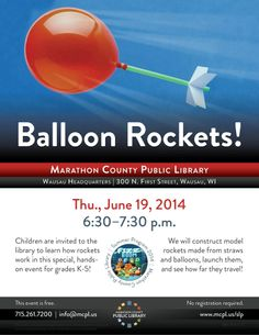 Make balloon rockets at the library! Science Crafts For Kids, Balloon Rocket, Library Programs, Rockets, Balloons, Product Launch, Learning, Children, Young Children