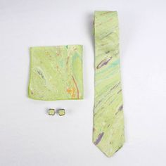 Sombre Peacock Marble Print Silk Tie Set