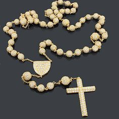 Dazzling Hip Hop Jewelry: This Iced Out Disco Ball Rosary Necklace showcases a luxurious design fully paved with sparkling white crystals. This unique Disco Ball rosary necklace is a trendy, new accessory.