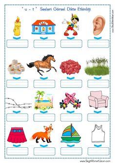 '' u – t '' Sesi Görsel Dikte Etkinliği - Seyit Ahmet Uzun – Eğitime Yeni Bir Bakış Easy Knitting Patterns, Knitting For Kids, Crochet For Kids, Knitting Designs, Baby Patterns, Baby Knitting, Diy Crafts Crochet, Turkish Language, Alphabet Worksheets
