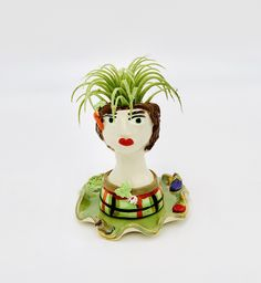 Veggie Lady Ceramic or Pottery Planter Head or Face Pot for Succulents or Plants Ceramic Planters, Planter Pots, Flaws And All, Pottery Designs, White Clay, Studio Art, Pottery Vase, Stuffed Green Peppers, Air Plants