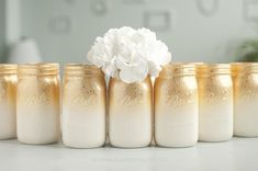 Set of 6 quart mason jar decor vases. Ombre style with a splash of glitter. Use for vases, decor or organizing jars. Gold/Rose Gold Option or choose your colors. Pick your color and jar. Quart or Wide Mouthed Quart. 50th Wedding Anniversary Decorations, Gold Wedding Centerpieces, Golden Wedding Anniversary, 50 Year Anniversary, 60th Birthday Centerpieces, Anniversary Dinner, Decor Wedding, Wedding Decorations, Glitter Mason Jars