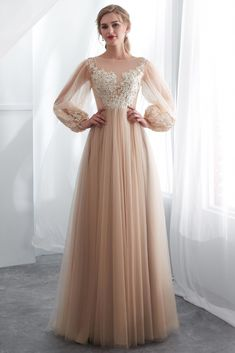 Charming Champagne Sheer Neckline Tulle Prom Dress, Unique Sleeves Prom Dresses, Evening Party Dress on Luulla Dresses Elegant, Unique Prom Dresses, Prom Dresses Online, Pretty Dresses, Wedding Dresses, Formal Dresses, Dresses Dresses, Dance Dresses, Homecoming Dresses