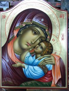 Our Lady of Tenderness Jesus And Mary Pictures, Images Of Mary, Mary And Jesus, Religious Icons, Religious Art, Church Icon, Mama Mary, Biblical Art, Byzantine Icons