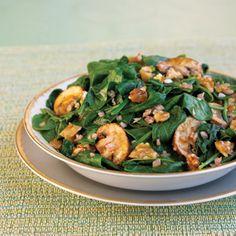 Spinach and Mushroom Salad 1 medium shallot, minced 1 teaspoon red ...
