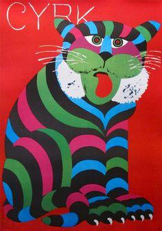 1972 Original Polish Circus Poster, Seated Cat - Hilscher