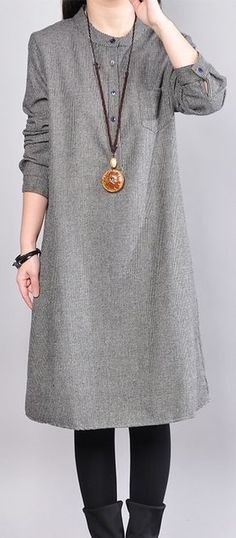 New gray cotton knee dress oversize cotton clothing dresses casual o neck plaid cotton clothing dresses1