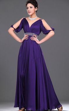 A-line V-neck Chiffon Evening Dress In Floor-length