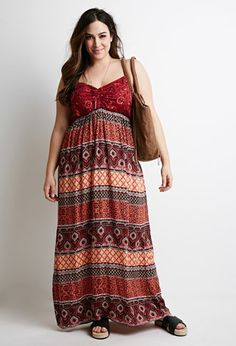 Mixed Prints Maxi Dress | Forever 21 PLUS - 2000096468 The ruched V-neckline and adjustable cami straps will flatter your figure while you beat the heat in style.$24.90