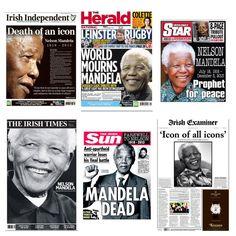 RIP Nelson Mandela - Irish Newspaper front pages