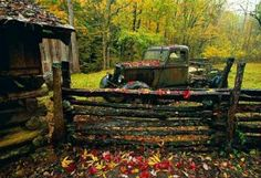Love this autumn country scene and old pickup truck♥