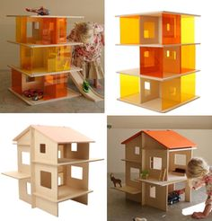 Dollhouses aren't just for kids, and they don't only come in the frilly Victorian variety. These modern dollhouse designs will please kids and parents alike. Victorian Dollhouse, Wooden Dollhouse, Dollhouse Dolls, Dollhouse Design, Miniature Houses, Miniature Dolls, Play Houses, Doll Houses, Vintage Paper Dolls