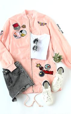 Cute pink patch jacket from shein with 40% off 1st order.