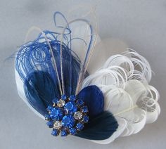 Peacock Blue Bridal Fascinator Cobal Blue and by TheRedMagnolia, $50.00