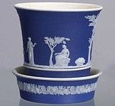 Blue Jasperware Pot with Saucer Wedgwood, Planter Pots, Table Settings, Blue And White, Clay, China, Clays, Place Settings, Porcelain