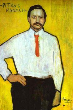 """Portrait of the Art Dealer Pedro Manach"" パブロ·ピカソ。アートディーラーペドロ Manachの肖像。 1901年"