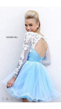 2014 Blue White Sherri Hill 21234 Short Prom Dress Short lace blue ...