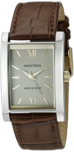Armitron Men's 20/5118GYTTBN Rectangular Shaped Brown Leather Strap Watch >>> You can find more details by visiting the image link.