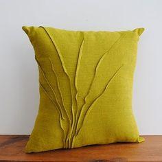 Chartreuse linen pillow
