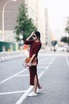 oxblood sweater dres