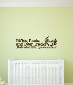 Custom Rifles, Racks & Deer Tracks Boys - Antlers Vinyl Art Wall Decal, Antlers Bedroom Decor, Vinyl Lettering,  Boy Decor, Deer, 37x11.4 by TheVinylCompany on Etsy