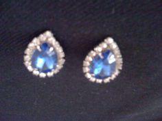 Blue & Rhinestone Shoe Clips