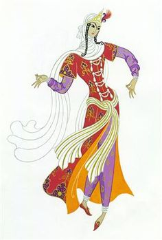 Lady in waiting, project for Sheherazade - Erte