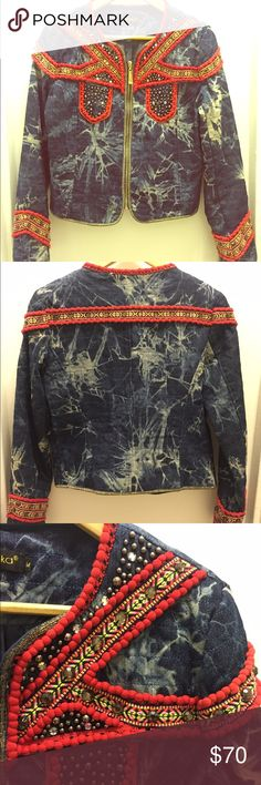 Ambika denim jacket with embellishment. Very fun Isabel Marant style embellished quilted tie-dye jacket. Zip front, with red Pom Pom trim and silver tone beads by Ambika. 2 front pockets. Size M, fits like a 6. In excellent condition. Ambika Jackets & Coats Jean Jackets