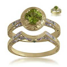 Ivy Edwardian Semi-Mount Set with Green Sapphires