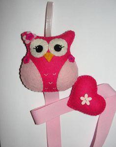 Wool Felt Owl Hair Clip Holder Pink Owl Barette Holder Hair