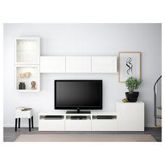 BESTÅ Tv-opbergcombi/vitrinedeuren - wit/Selsviken hoogglans/wit helder glas, laderail, zachtsluitend - IKEA
