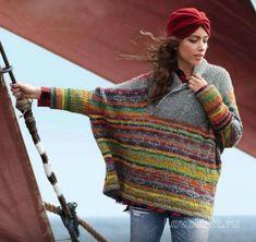 Спицами широкий пуловер-пончо с цветным узором фото к описанию