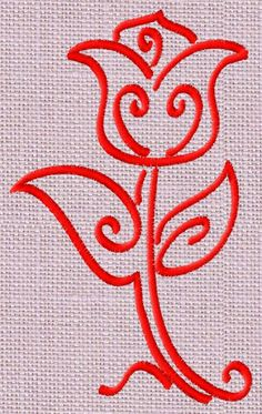 Tulip free machine embroidery design - 5 sizes included