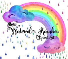 Pastel Watercolor Rainbows Clipart by Origins Digital Curio on @creativemarket