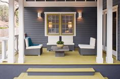 Gray and yellow create the perfect pairing. I especially like Benjamin Moore's Iron Mountain 2134-30 used in an exterior setting with mustard accents.