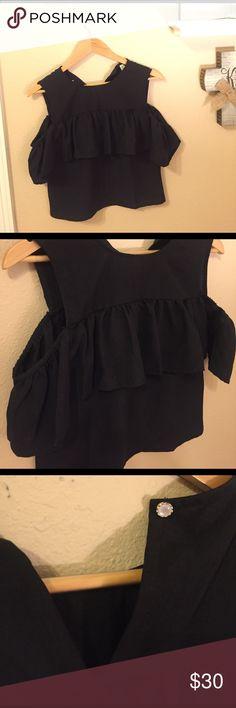 Black Off the Shoulder Cold Shoulder Ruffle Top Cold shoulder black Top. Size small, ruffle detail. Never been worn! Tops