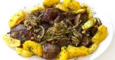 wątróbka z karmelizowanymi brzoskwiniamii jabłkami Pot Roast, Ethnic Recipes, Food, Carne Asada, Roast Beef, Essen, Meals, Yemek, Eten