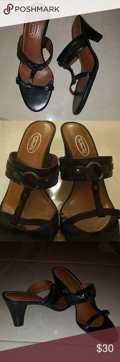 TALBOT LEATHER Used Talbots Black Leather Strappy Heels with Metal Ring, Horseback Riding Inspired.. *IN VERY GOOD CONDITION* *VERY COMFORTABLE SANDALS* Talbots Shoes Heels
